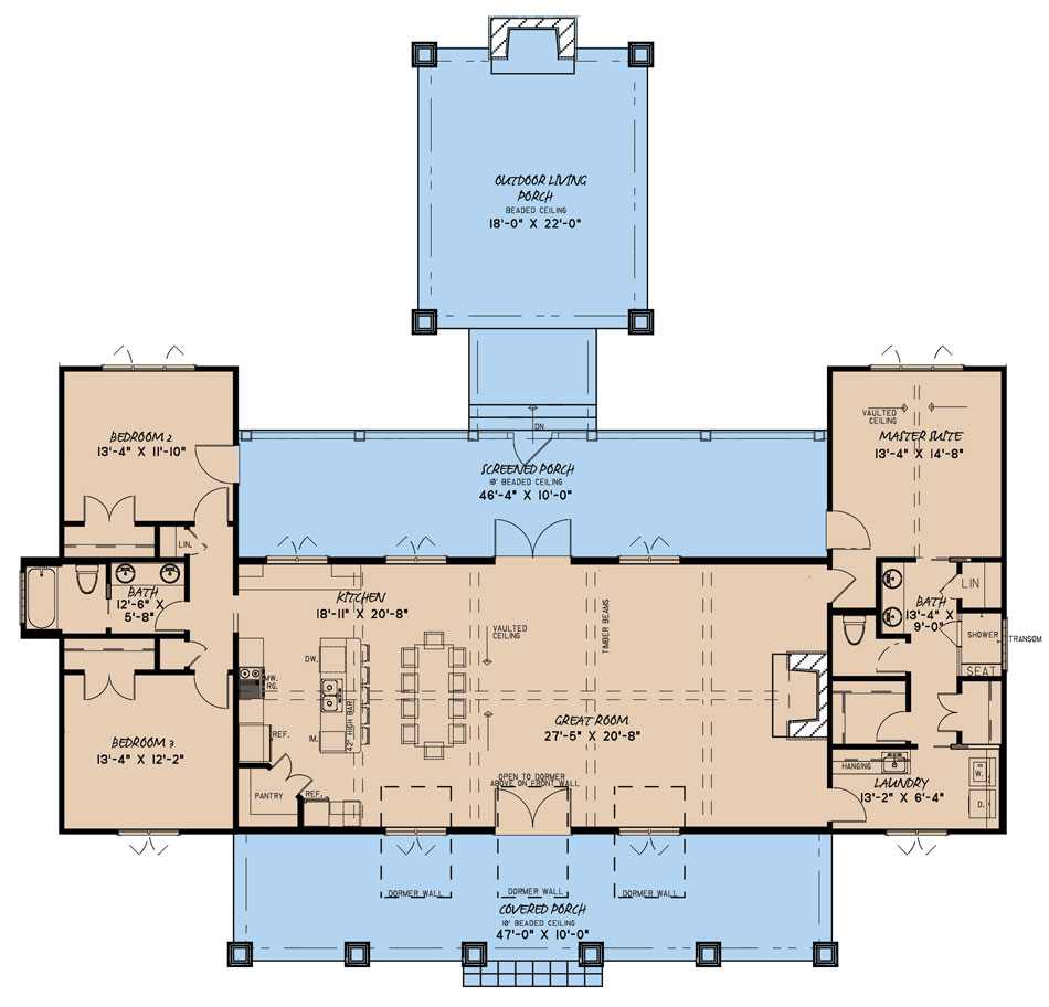 Nelson Design Group House Plan 5208 Marshall Place Farmhouse House Plan