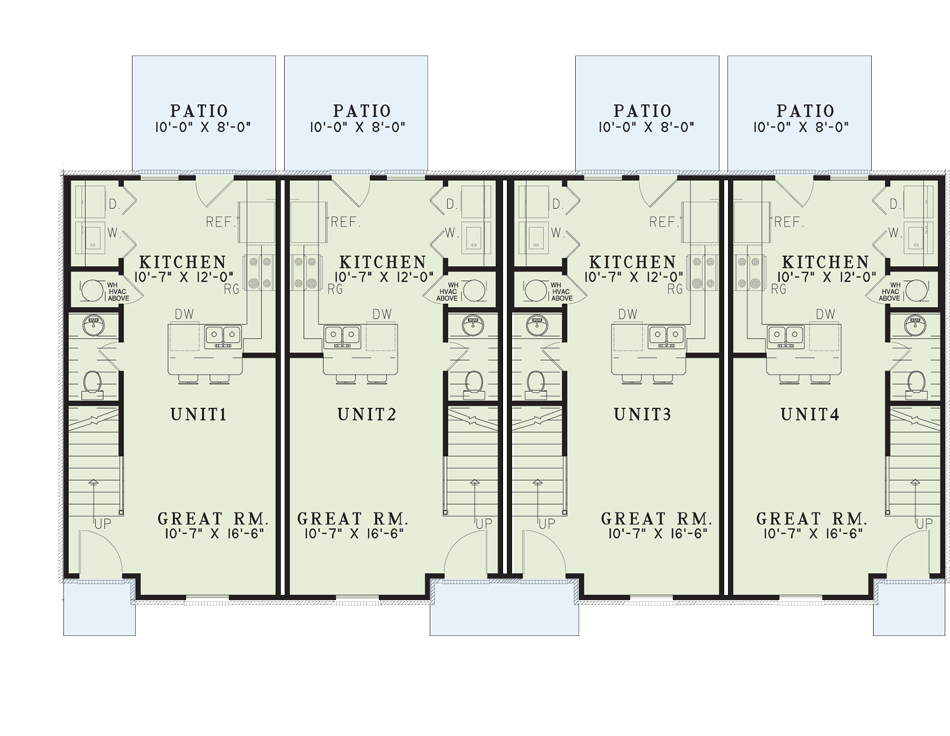 Nelson Design Group House Plan 841 Cambridge Court Multi Family House Plan